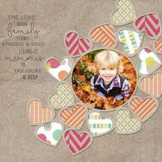 http://Scrapbook.com Layout Gallery. Make into sunburst with upside down hearts around pic