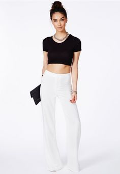 Megane High Waisted Palazzo Trousers - Trousers - Missguided