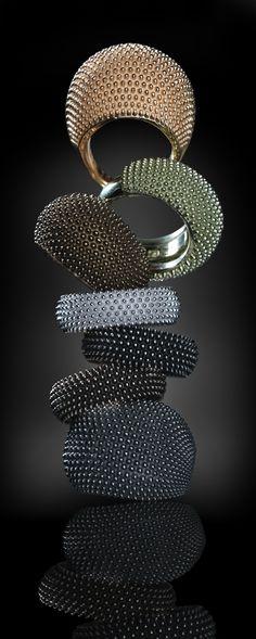 Raoul Sagal  @LeoroLtd . Pixel (silver) rings by Pesavento