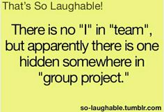Yes. Every group project I usually do most of the work! Now it is my Physics lab group