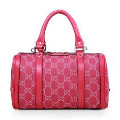 Gucci 269876 Vintage Web GG Denim Boston Bag Rose-Red