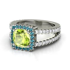 Cushion Peridot Platinum Ring with London Blue Topaz
