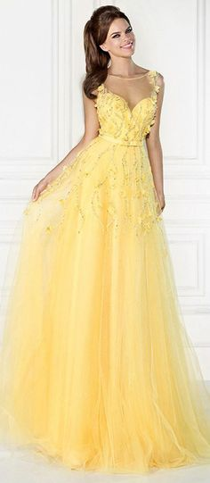 New Arrival Yellow A Line Sheer Scoop and Back Beading Seuqined Tulle Evening Dresses Vestido De Festa Long Wedding Party Gowns A Line Prom Dresses, Evening Dresses, Formal Dresses, Yellow Formal Dress, Dresses 2016, Formal Prom, Elegant Dresses, Wedding Dresses, Pretty Dresses
