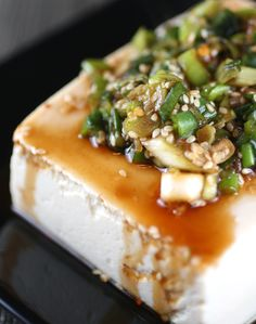 warm tofu with spicy garlic sauce - garlic, scallion, sesame seeds, soy sauce, sesame oil, red pepper flakes