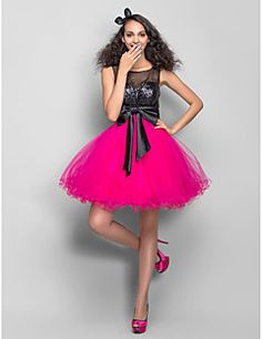 TS Couture® Dress - Multi-color Plus Sizes / Petite A-line / Princess Scoop Short/Mini Tulle / Sequined