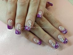 Violet gel with white scroll freehand nail art