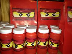 Recovered bubble bottles with Ninjago eyes and added same eyes to goody bags
