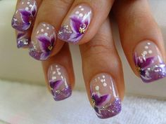 Nude nails with purple, white  pastel pink flowers done with one stroke technique, free hand, nail art   Link: Amazing Nail Art Designs