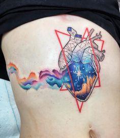 Amazing abstract heart tattoo by Chris Rigoni (Instagram @chrisrigonitattooer).