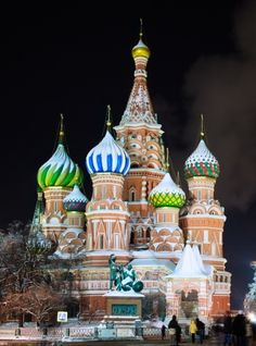 Saint Basil's Cathedral at night in Moscow's Red Square