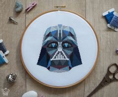 Geometric Darth Vader Star Wars Counted Modern Cross Stitch PDF Pattern. This pattern is an instant download PDF. Size: 86w x 90h stitches 18 Count Aida: approx. 4.8w x 5.0h inches or 12.1w x 12.7h cm 16 Count Aida: approx. 5.4w x 5.6h inches or 13.7w x 14.3h cm 14 Count Aida: approx. 6.1w x 6.3h inches or 15.6w x 16.3h cm Stitches Required: Full cross stitches Colors Required: 19 DMC floss colors The sample was made on 18 count aida and framed in a 8 hoop. PDF Included: - Pattern in…