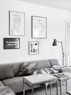 all grey living room with a hint of wood - styling | Josefin Hååg