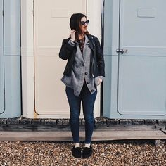 Leather jacket by Miss Selfridge. Grey Cardigan by Zara, Jeans by BDG at Urban Outfitters, Black Mules from Urban Outfitters. OOTD. Hannah 🌿 (@hannahandtheblog) on Instagram