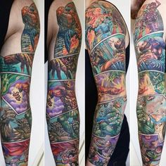 Man With Full Sleeve Marvel Comic Strip Theme Tattoo Design