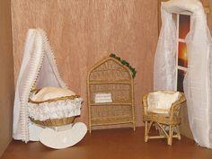 Barbie Puppenhaus Möbel  Babyzimmer Korbmöbel