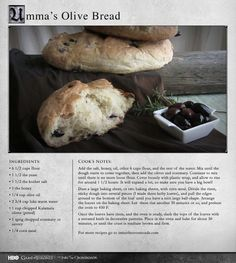 """That's right, no kneading."" MORE RECIPES: http://itsh.bo/LQC1sC #gameofthrones #bread #olives #food"
