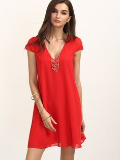 Casual v neck red dress. Perfect dress for a nice day out or night out. Fabric: Fabric has no stretch Season: Summer Cap Sleeve Red Short Basic Polyester V Neck Shift Shoulder Bust Waist Lengt Modest Dresses, Trendy Dresses, Day Dresses, Nice Dresses, Casual Dresses, Short Sleeve Dresses, Formal Dresses, Red Dress Casual, Bodycon Outfits