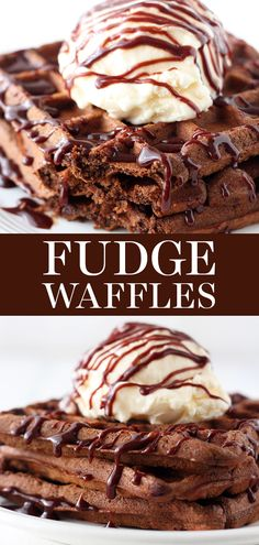 Fudge Waffles are the ultimate dessert for breakfast loaded with rich chocolate flavor and topped with ice cream and fudge chocolate sauce! Easy No Bake Desserts, Dessert Recipes, Brunch Recipes, Brunch Ideas, Fun Desserts, Chocolate Flavors, Chocolate Desserts, Chocolate Art, Cream And Fudge