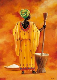 African lady Canvas Art - Renee x Art And Illustration, Woman Painting, Figure Painting, 3 Canvas Art, Afrique Art, African Art Paintings, African Theme, Exotic Art, Afro Art