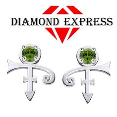 1/3 Ct Peridot Round Cut PRINCE Singer Artist Symbol Stud Earrings. Starting at $1