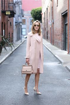 monochromatic outfit with nude pumps
