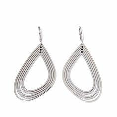 Stately Steel Multi-Row Oblong Teardrop Earrings Hsn Jewelry, Teardrop Earrings, Steel, Iron