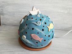 Lampada sfera mare con pesci