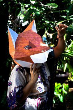 3D Paper Model Instruction - ภาพประกอบการสอนทำของเล่นกระดาษภาพที่ 2 วิธีทำหน้ากากรูปหัวสุนัขจิ้งจอก (Fox head mask papercraft model)