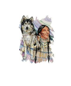 Southwest Indian Wolf T SHIRT, ( Sweatshirt, Quilt Fabric Block, Tote Bag, Apron, Available On Request) #777c by AlwaysInStitchesCo on Etsy