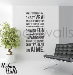French Vinyl Wall Sticker Decal Dans Cette Maison by urbanwalls, $49.00