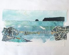Just need to stretch this across a board then it will be ready for framing. #fridaystudioday #pentirepoint #amymahala #amymahalaartwork #polzeath #stitchedseascapes #stitchedmixedmedia #cornwallartist #cornwall