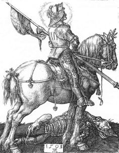 St George on Horseback - Albrecht Durer. Engraving, 1505. Metropolitan Museum of Art, New York City.