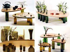 Ekodizajn: Stôl vytvorený z dreva a sklených fliaš