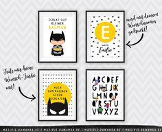 Bilder - Superhelden 4er-SET ★ Kunstdrucke Kinderzimmer - ein Designerstück von Masipie bei DaWanda