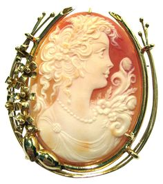 Primavera, Master Carved Carnelian Shell 18k Gold Cameo Pin Pendant -- You can find out more details at the link of the image. (This is an Amazon Affiliate link and I receive a commission for the sales)