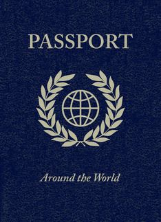 around the world party passport invitation Greeting Card. Have different presentations in different rooms and people travel around and get their 'passport' stamped.