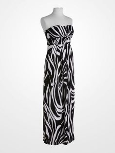 5662194c0e87 Black and White Zebra Print Maxi Dress