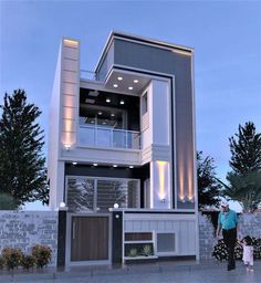 Amazing House Design Ideas For 2020 - Engineering Discoveries Modern Small House Design, Modern Exterior House Designs, Modern Architecture House, Cool House Designs, Exterior Design, 3 Storey House Design, Bungalow House Design, House Front Design, Architectural House Plans