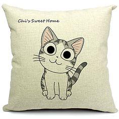 jeu de 4 chats adorables coton / lin taie d'oreiller décoratif – GBP £ 55.47