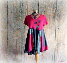 Fuchsia Pink Lagenlook Top Women's Kerchief by BrokenGhostClothing