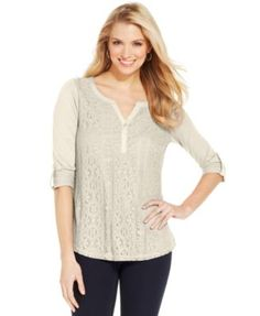 Style&co. Crochet-Front Roll-Tab Top
