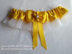 YELLOW Wedding Garter Set - Garter Belt - Satin Ribbon - Tossing Garter - Bridal Garter by LoveCelebration on Etsy https://www.etsy.com/listing/241374746/yellow-wedding-garter-set-garter-belt