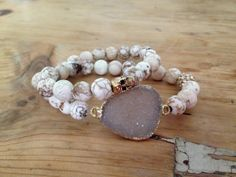 The Jackie Druzy bracelet,Gemstone natural Howlite, antique gold skull and gold plated pave beads.