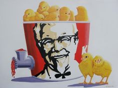 Day-old chicks in a KFC tub, spitting out meat through a grinder, painting by Jo. Kfc, Vegan Memes, Vegan Quotes, Vegetarian Quotes, Vegan Art, Day Old Chicks, Especie Animal, Animal Agriculture, Animal Activist