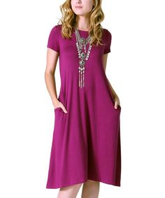 Love this Magenta Pocket Midi Dress on #zulily! #zulilyfinds