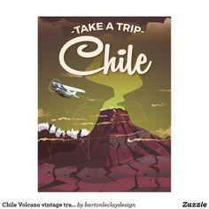 Chile Volcano vintage travel poster Postcard