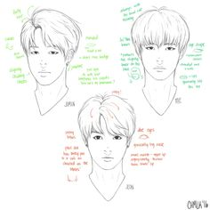 Pointers on how to draw Jungkook, V and Jimin