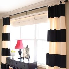 Black and white striped drapes | 40 Genius No-Sew DIY Projects