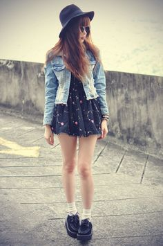 Denim jacket with Floral dress, Hat & Black creepers shoes