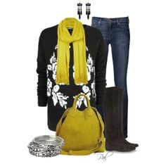 Floral sweater and boots, created by pamlcs on Polyvore